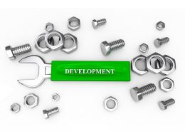 Tools Like Screw Nut Bolts Wrench With Word Development Stock Photo