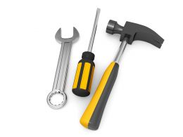 Tools Like Wrench Screwdriver Hammer On White Background Stock Photo