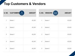 Top Customers And Vendors Amount Marketing Ppt Powerpoint Presentation Slides Objects