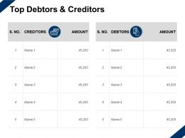 Top Debtors And Creditors Management Marketing Ppt Powerpoint Presentation Slides Outfit