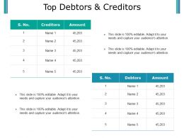 Top Debtors And Creditors Powerpoint Slide Graphics