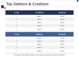 Top Debtors And Creditors Ppt Model Designs Download