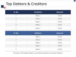 Top Debtors And Creditors Ppt Model Designs Download