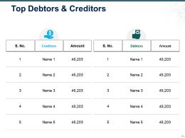 Top Debtors And Creditors Ppt Slide