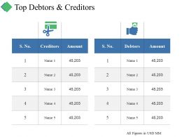 Top Debtors And Creditors Ppt Summary Inspiration