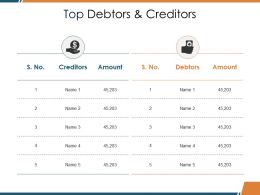 Top Debtors And Creditors Ppt Visual Aids Background Images