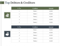 Top Debtors And Creditors Sample Of Ppt Presentation