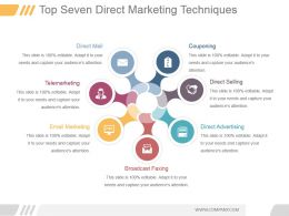Top Seven Direct Marketing Techniques Ppt Presentation Examples