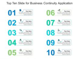 Top Ten Slide For Business Continuity Application Infographic Template