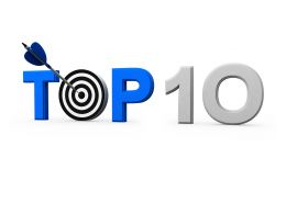 Top Ten Target Display With Dart And Arrow Stock Photo
