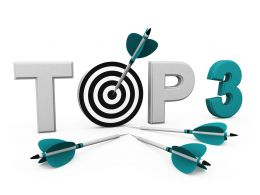 Top Three Target Display With Target Dart And Arrow Stock Photo