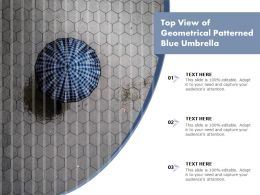 Top View Of Geometrical Patterned Blue Umbrella