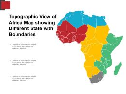 Topographic View Of Africa Map Showing Different State With Boundaries