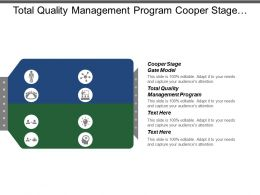 Total Quality Management Program Cooper Stage Gate Model Cpb