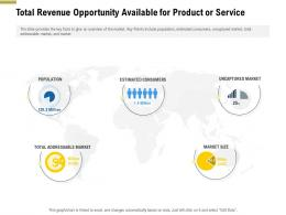 Total Revenue Opportunity Available For Product Or Service Pitch Deck Raise Funding Pre Seed Money Ppt Template