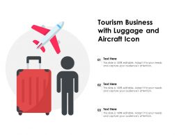 Tourism Business With Luggage And Aircraft Icon