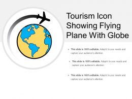 Tourism Icon Showing Flying Plane With Globe