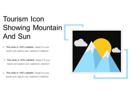Tourism Icon Showing Mountain And Sun