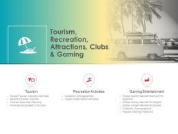Tourism Recreation Attractions Clubs And Gaming Platforms Ppt Powerpoint Presentation Model