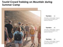 Tourist Crowd Trekking On Mountain During Summer Camp