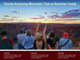 Tourist Enjoying Mountain Trek At Summer Camp