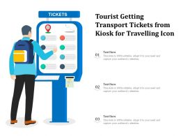 Tourist Getting Transport Tickets From Kiosk For Travelling Icon