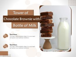Tower Of Chocolate Brownie With Bottle Of Milk