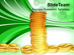 Tower Of Gold Coins Financial Business Powerpoint Templates Ppt Themes And Graphics 0113
