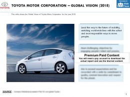 Toyota Motor Corporation Global Vision 2018