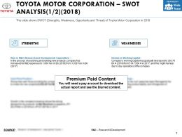 Toyota Motor Corporation Swot Analysis 2018