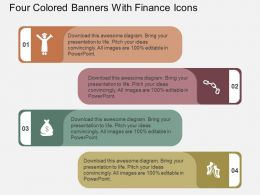 tp Four Colored Banners With Finance Icons Flat Powerpoint Design
