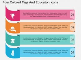 tq Four Colored Tags And Education Icons Flat Powerpoint Design