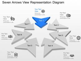 Tq Seven Arrows View Representation Diagram Powerpoint Template Slide