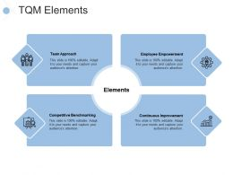 Tqm Elements Team Approach Competitive Benchmarking Ppt Powerpoint Presentation Slides Design