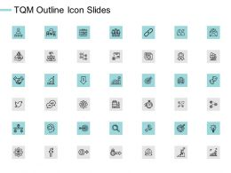 TQM Outline Icon Slides Quotes Gears E209 Ppt Powerpoint Presentation File Outfit