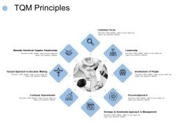 Tqm Principles Continual Improvement Leadership Ppt Powerpoint Presentation Slides Examples