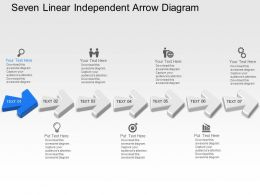 Tr Seven Linear Independent Arrow Diagram Powerpoint Template Slide