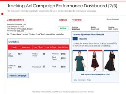 Tracking Ad Campaign Performance Dashboard Holiday Season Ppt Slides