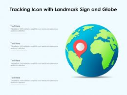 Tracking Icon With Landmark Sign And Globe