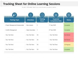 Tracking Sheet For Online Learning Sessions
