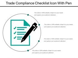 Trade Compliance Checklist Icon With Pen