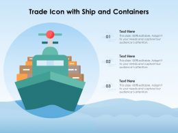 Trade Icon With Ship And Containers