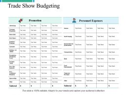Trade Show Budgeting Ppt Powerpoint Presentation File Graphic Images
