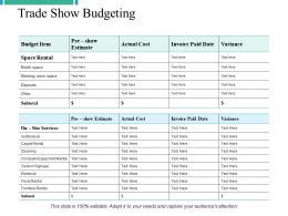 Trade Show Budgeting Ppt Powerpoint Presentation File Graphics Download