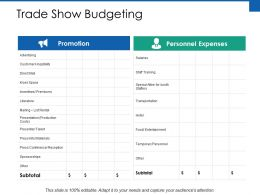 Trade Show Budgeting Promotion Ppt Powerpoint Presentation File Layouts