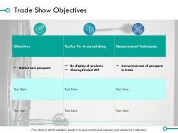 Trade Show Objectives Ppt Powerpoint Presentation File Model