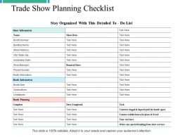 Trade Show Planning Checklist Ppt Powerpoint Presentation File Graphics Tutorials