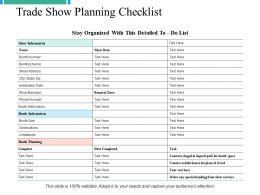 Trade Show Planning Checklist Ppt Powerpoint Presentation File Graphics Tutorials