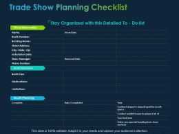 Trade Show Planning Checklist Ppt Powerpoint Presentation File Mockup