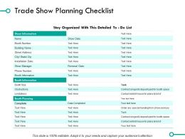 Trade Show Planning Checklist Ppt Powerpoint Presentation File Outline